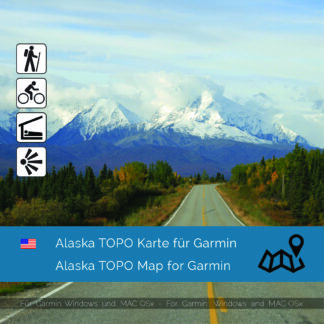 Topographic Map Alaska for Garmin navigation devices Download. Map is Plug & Play ready. Download includes also the Map-Installer for Windows and Mac PC