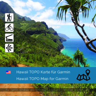 Topographic Map Hawaii for Garmin navigation devices Download. Map is Plug & Play ready. Download includes also the Map-Installer for Windows and Mac PC